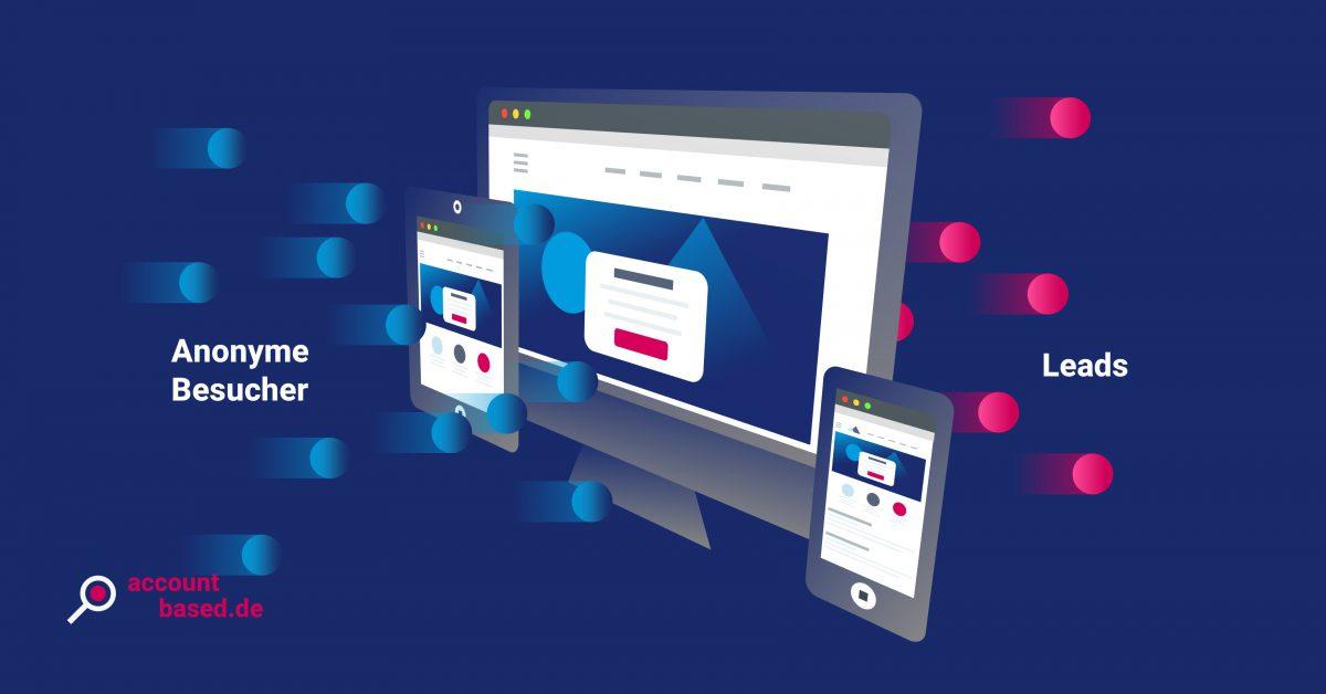 Symbolbild Website Visitor Identification: Grafik erläutert Prozess vom Anonymen Besucher zum Lead