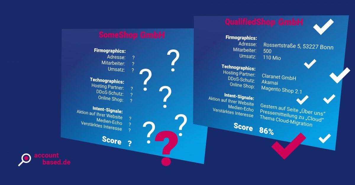Symbolbild Lead-Qualifizierung: unqualifizierte und qualifizierte Leads unterscheiden sich durch die Anzahl der vorhandenen Informationen