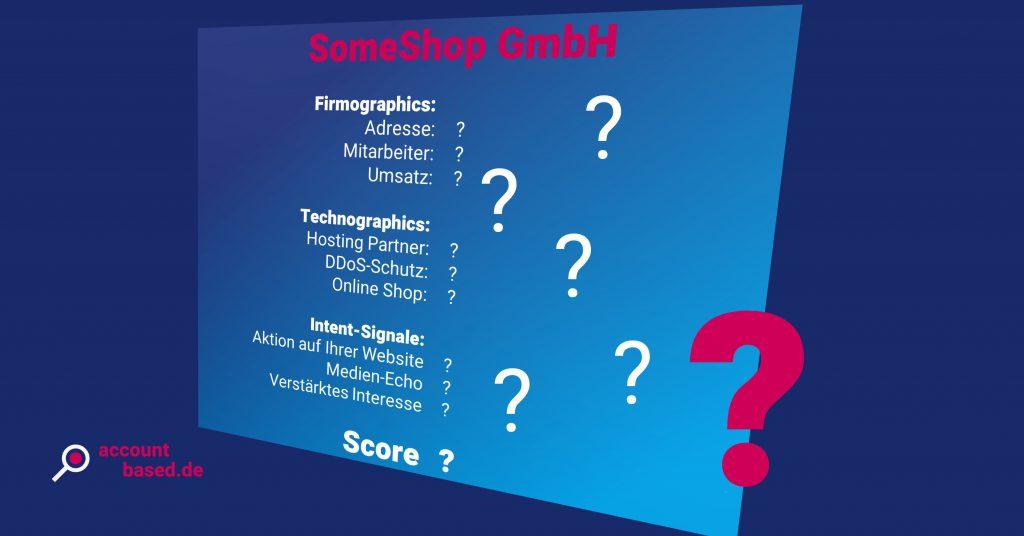 Symbolbild schlecht qualifizierter Lead: stilisiertes Kundenkonto mit Fragezeichen statt Informationen